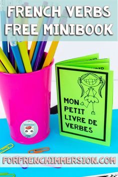 "Learning French verbs conjugation is not always easy, but it can be fun! Your kiddos learning French as a second language are going to love to create and carry around this FREE minibook of ""verbes français"". Sign up for my newsletter to receive this printable file resource right in your inbox now. Perfect for French Immersion and Core French classrooms!"