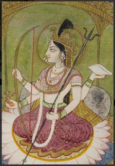 detail of Shri Devi, Markandeya Purana Ancient Indian Art, Indian Folk Art, Mughal Paintings, Indian Art Paintings, Durga Painting, India Art, Krishna Art, Hindu Deities, Indian Gods