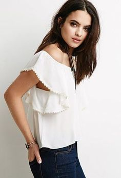 Forever21 Crocheted Flutter Sleeve Top