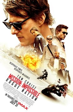 Misión imposible: Nación secreta. En la línea de todas, entretenida y divertida, un pelín larga en mi opinión. Brillante Tom Cruise, como siempre.