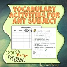 Vocabulary Activities and project choice Bingo Template, Tools For Teaching, Secondary Teacher, Vocabulary Activities, School Subjects, School Psychology, New Teachers, High School Students, Extra Credit