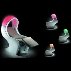 """GAMMA & BROSS's """"Tekno Relax Lounger"""" may not be available to us mere mortals but we can still dream about parking our derrière on it. Spa Furniture, Chromotherapy, Rest Area, Good Massage, Rest And Relaxation, Foot Rest, Recliner, Modern, Parlour"""
