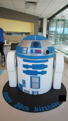It's my 30th birthday today. I present to you: R2-D2, in cake form. May the forks be with you.