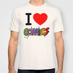 T-SHIRT	/ MENS FITTED TEE TRI-GREY DeMoose_Art (demoose21) I LOVE COMICS by DeMoose_Art $22.00
