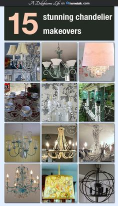 Do you have a standard brass chandelier or one that doesn& fit your room& decor? I& put together 15 wonderful DIY chandelier makeovers that are sure to inspire you! Chandeliers, Diy Chandelier, Brass Chandelier Makeover, Diy Projects To Try, Home Projects, Painted Furniture, Diy Furniture, French Decor, Decoration
