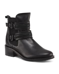Made In Italy Double Strap Zipper Moto Leather Boots