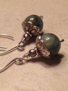 Jade Dangle Earrings Rustic Silver Dangles Dark by LadonnaStudio, $42.00