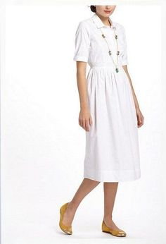 Anthropologie O by Organic Embroidered Marlo Shirt Dress