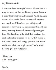 The Notebook letter from Noah to Allie!!