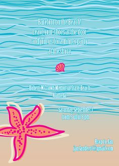 #Beach Party Invitation designed by Debra Fleming +1-510-595-8422 or debra_fleming@flemingslettershop.com