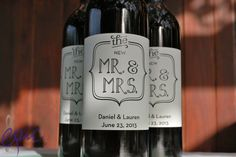 Custom Mr. & Mrs Wine labels for wedding. #EpicEntertainment
