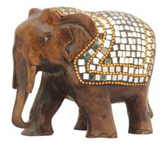 """Bulk Wholesale Elephant Sculpture in Wood – Hand-Carved 3"""" Animal Statue / Figurine with Mirror and Beads' Work – Rich-Look Home Décor from India"""