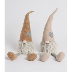 Loveable gonk decorations in stylish cream and grey colours with heart detailing and cute button noses.