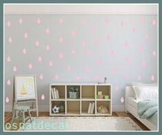 FREE SHIPPING Wall Decal Rain Drops PINK Color. Each Kit 132. Nursery Wall Decal. Home Decor. Vinyl Wall Decal Wall Sticker. Wall Art