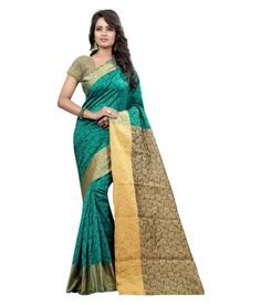 Women's Firozi Color Cotton Saree or Sari With Blouse and Floral Jacquard Design From Vaibhav Laxmi Automation