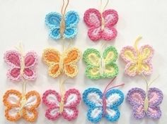 Free Crochet Animal Patterns | BUTTERFLY APPLIQUE CROCHETTE PATTERNS | FREE PATTERNS