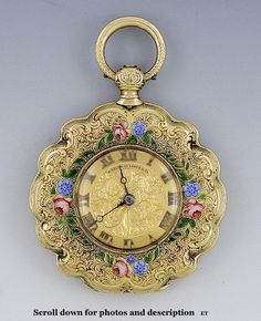 C.1850's French 18K Gold Enameled Butterfly Pocket Watch