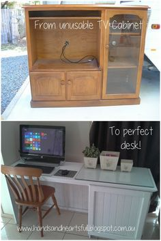 From TV Cabinet to Perfect Desk!