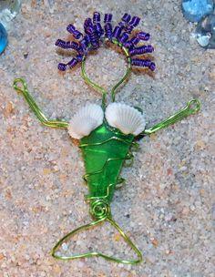 Wire Wrap Sea Glass Mermaid Pin Ornament by BreezyGirlArts on Etsy, $30.00