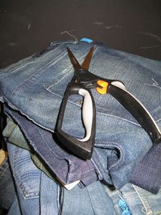 Recycle all the useable parts of old jeans