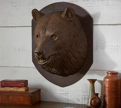 Sculpted Bear Head #potterybarn - Could be a nice contrast on white wall. Not as much variety to choose from as West Elm paper mache