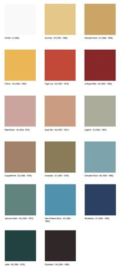 1960s Color Swatches. Repinned by Secret Design Studio, Melbourne. www.secretdesignstudio.com