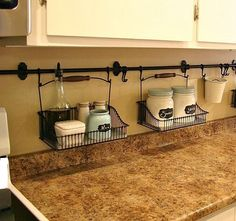 Curtain rod to keep clutter off of counters.