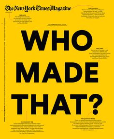 The New York Times Magazine, 2013 Innovations Issue, Cover Design
