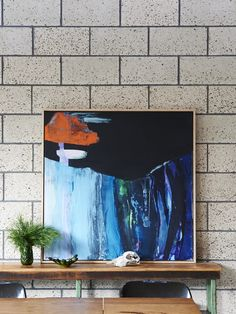 Painting by Ali McNabney-Stevens, The design files. Honed Concrete, Concrete Block Walls, Home Decor Inspiration, Painting Inspiration, Extension Designs, Melbourne House, The Design Files, Australia Living, Retro Home