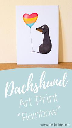 Dachshund Art, Dachshund Gifts, Funny Dachshund, Thing 1, Calendar Ideas, Rainbow Print, Poster Making, Gift For Lover, Nursery Decor