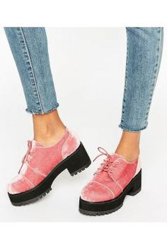 0e394e19f246 ASOS OBACA Chunky Velvet Lace Up Shoes - Pink Velvet Fashion