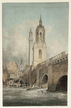 'London Bridge, with the Monument and the Church of St Magnus King and Martyr', by Joseph Mallord William Turner, ?1794–5.