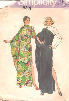 Simplicity 5971 1970s Misses Asymmetrical Contrast evening caftan womens vintage sewing pattern kimono sleeve by mbchills