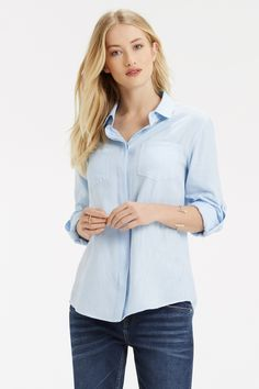 We love our embellished necklines and pretty mesh inserts, but sometimes you need to go back to basics. This is the washed cotton casual shirt sure to become BFFs with your jeans in no time at all.