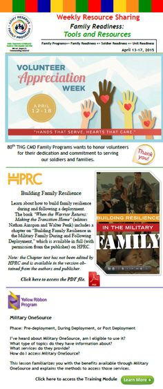 Questions related to the information herein or for more information regarding Programs and Services that contribute to our Families Readiness and Resiliency, please contact your 80th Training Command Family Programs Center Community Outreach Assistant at 804-377-6430 or veronica.r.lauretano.ctr@mail.mil