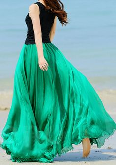 Circle Maxi Skirt, perfect for bridesmaids with any body type. Lovely and choice of black tops in flattering styles?