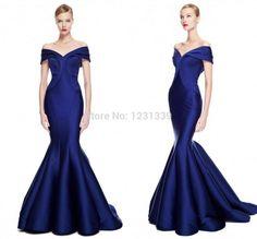 Royal Blue Mermaid Zuhair Murad vestidos de noche 2015 Hombro Moda partido largo vestido formal Prom Vestidos Vestido De Renda