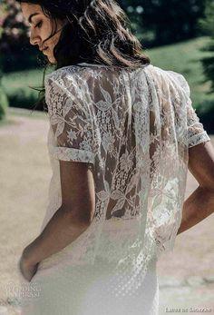 laure de sagazan 2017 bridal half sleeves bateau neck simple 2 piece bohemian column wedding dress covered lace back (peguy top flament skirt) bv -- Laure de Sagazan 2017 Wedding Dresses