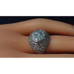 Diamond Platinum Bombe Ring | From a unique collection of vintage cocktail rings at https://www.1stdibs.com/jewelry/rings/cocktail-rings/