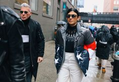 #StreetStyle   #NYC Nick Wooster and Julie Ragolia in Moncler coat