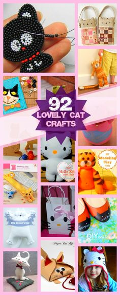 92 Lovely Cat Crafts, haha look at the cute patchwork bags in upper right