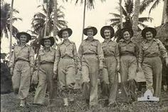 Australian RAAF nurses at their station in Madang, Papua New Guinea in 1945, during World War II ~