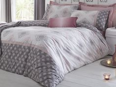 DnD 'Indra' Reversible Duck Egg and Beige Diamonds with Panel Duvet Cover Set, Double, Blush: Amazon.co.uk: Kitchen & Home