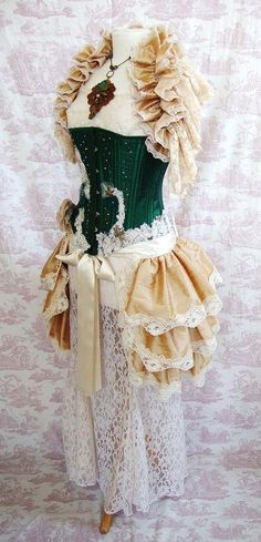 Silk STEAMPUNK BUSTLE Skirt Romantic Victoriana Burlesque PANDORA Victorian Lolita By Ophelias Folly. $85.00, via Etsy.