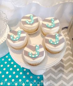 Cute Cupcakes at an Elephant baby shower!  See more party ideas at CatchMyParty.com!
