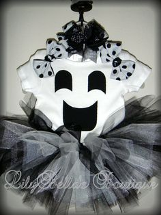 Cute ghost tutu Halloween costume.