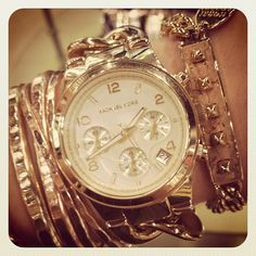 Michael Kors Gold Watch With Gold Jewelry