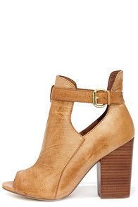 Chinese Laundry Bizarre Cognac Leather Cutout Peep Toe Booties