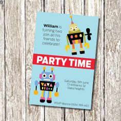 Robot Birthday Party Invitation - Printable and Personalised