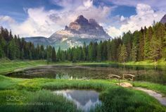 Oasis by hipydeus  sky flowers lake reflections clouds italy mountain alps dolomites oasis Oasis hipydeus